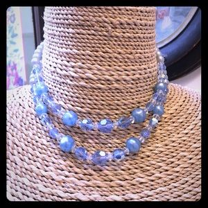 Vintage 1950s Double strand blue crystal necklace